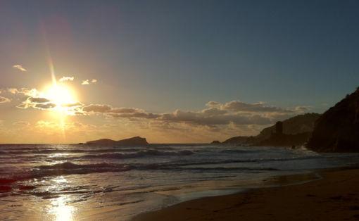 Aguis Blanca Beach, Ibiza. Scene of sky, sun, sea and sand.